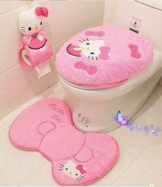 Pink 4Pcs Hello Kitty Toilet Seat Cover Cartoon Bathroom Lid Mat Set