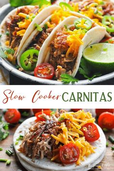 These easy Slow Cooker Carnitas with pork tenderloin are crispy and flavorful! Use the Crock Pot pulled pork in tacos, salads, rice bowls and more! Slow Cooker Carnitas, Carnitas Tacos, Pork Tenderloin Tacos, Mexican Pulled Pork, Crockpot Recipes, Cooking Recipes, Healthy Mexican Recipes, Easy Weeknight Dinners, Delicious Dinner Recipes