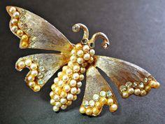 Art Deco Butterfly LEDO Brooch-Pin Pearl by RenaissanceFair
