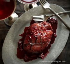 My Bloody Valentine (Red Velvet Cake with Berry Sauce) - Celebrating Halloween - Treats - Scary Halloween Cakes, Scary Cakes, Halloween Treats, Halloween Party, Bloody Halloween, Halloween Foods, Halloween Drinks, Velvet Cake, Red Velvet