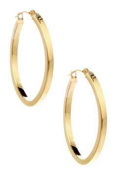 14K Yellow Gold Oval Hoop Earrings by Hot For Hoops on @HauteLook