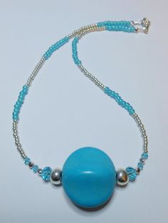Teal Magnesite Stone and Silver Necklace by SLeeKBeadedJewelry, $25.00