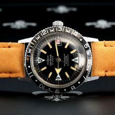 Serviced 60s OSTARA Swiss Vintage Diving GMT Bezel Watch 20ATM 21j EB Cal. 8021N