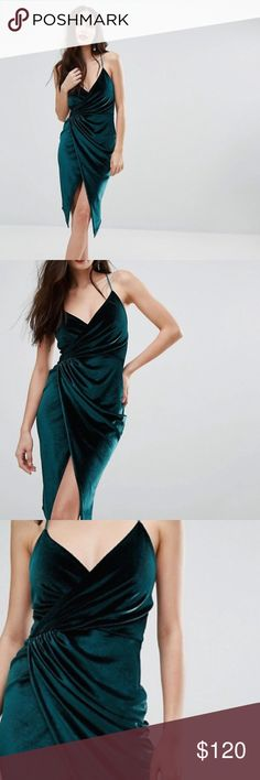 Gorgeous Green Velvet Midi Wrap Dress Gorgeous dress!!! I love, love this dress!! But don't know when I'll get to wear it!! Tag says size 6 but fits like a 4.  Flattering any figure! If you have curves it hugs them and if you don't it makes them!! Priced high because it's sold out!! ASOS Dresses Midi