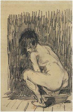 Mujer desnuda agachada sobre una palangana (1887)