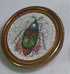PAIR OF ANTIQUE VICTORIAN MICRO MOSAIC FLY INSECT BUTTONS GOLD FILLED | eBay