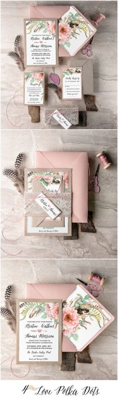 Boho Rustic Pink Wedding Invitations #rustic #pink #boho #lace #romantic #floral #flowers #botanical #calligraphy