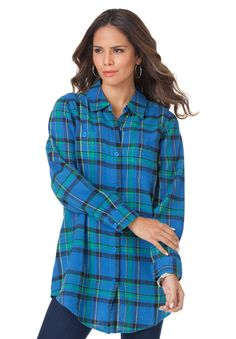 Flannel Plaid Bigshirt | Plus Size Shirts and Blouses | Roamans