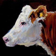 White On Brown Cow Print by Diane Whitehead