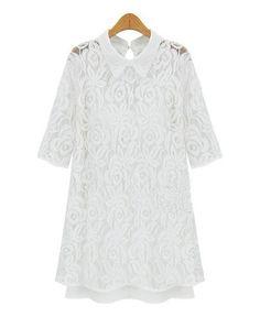 White Cut Out Lace Dress