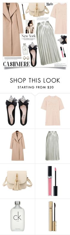 """""""Powder & Cashmere"""" by violet-peach ❤ liked on Polyvore featuring Miu Miu, Givenchy, Topshop, Christian Dior, Calvin Klein, Dolce&Gabbana and Kerr®"""