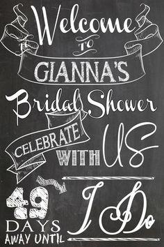 welcome bridal shower sign days left until I by CustomPrintablesNY
