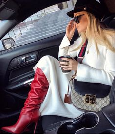 Red Leather Boots, Red Boots, Thigh High Boots Heels, Stiletto Boots, High Heels, 2000s Fashion, Fashion 2020, Gucci Gang, Paris Chic