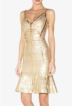 Cheap Herve Leger Julia gold foil bandage dress,just $229.Free ...
