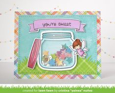 Lawn Fawn - How You Bean?, How You Bean? Shaker Add-on, Fairy Friends, Bannertastic, Cross-Stitched Rectangle Stackables, Simple Grassy Hillside Borders, Perfectly Plaid Rainbow, Watercolor Wishes _ card by Yainea for Lawn Fawn Design Team
