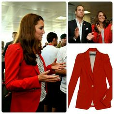 Zara Woman red blazer seen on kate middleton small Excellent condition so cute with the gathered shoulder. From a smoke free home Zara Jackets & Coats Blazers