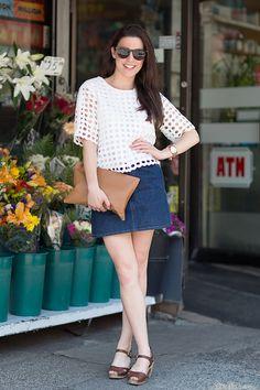 Editor's Style Megan Cahn's Denim Miniskirt - Summer Street Style Photos NYC July 8 - Elle