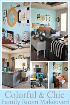 Colorful and Chic Family Room Makeover!