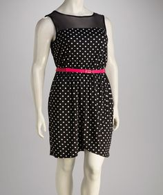 Take a look at this Black & White Polka Dot Belted Plus-Size Dress by Just For Wraps on #zulily today! $20