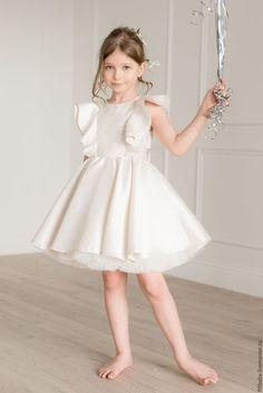 "Dress for Girls | Нарядное платье ""Крылышки"" (Молочное) - кремовый, платье, платье для девочки, пышное платье"