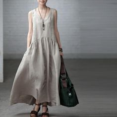 Image of Rice/Blue Long Dress Women's Retro Linen Maxi Dress V-neck Causel Clothes Women's Dress Q2019A