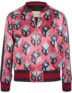 Gucci - Printed Duchesse-silk Bomber Jacket - Pink.#ad