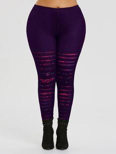 82313e532a7 Plus Size Ripped Rose Print Workout Leggings