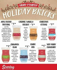 MERRY BRICKMAS! Scentsy Bricks are available for $20 during November 2016 only, or while supplies last. If you Hosts a party you can get Scentsy Bricks at half-price or even FREE with your qualifying Host Rewards. Visit https://jemetts.scentsy.us/shop/c/3636/holiday-bricks