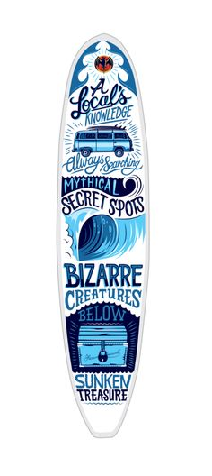 Bacardi Surfboard by Justin Poulter via Behance Typography Letters, Typography Design, Hand Lettering, Logo Design, Surf Design, Sup Girl, Surfboard Art, Mini Mal Surfboard, Sup Yoga