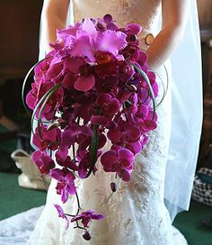 Cascading magenta orchid Wedding Bridal Bouquet