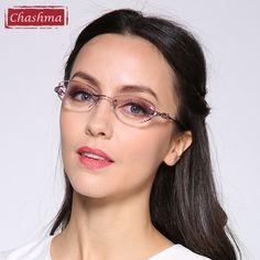 81e0ce66150 Chashma Luxury Tint Lenses Myopia Glasses Reading Glasses Diamond Rimless  Prescription Glasses for Women Eyeglasses Frames
