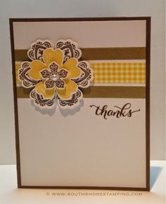Thank You card using the Stampin' Up! sets Petite Petals and Flower Shop by Emily Mark SU demo Greenfield Park, Quebec. www.southshorestamping.com - NAC85