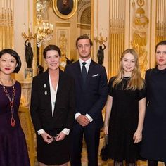 #PrincessCaroline received in Paris, the French insignia of Commander of Arts and Letters  #PierreCasiraghi #PrincessAlexandra #CharlotteCasiraghi