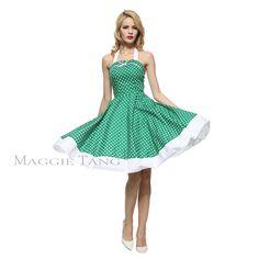 Maggie Tang 50S Vtg Polka Dot Floral Full Sweep Swing Rockabilly Dress 502/504