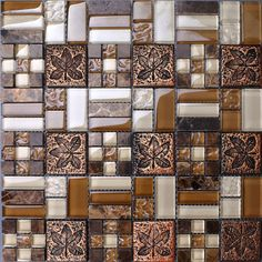 Metal Tile Backsplash Kitchen Design Colorful Crystal Glass & Stone Blend Mosaic  Marble Wall Stickers Bathroom Floor Tiles $274.08