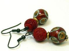Vintage Bead Earrings Chinese Red Cinnabar by ForeverInStyle, $22.00