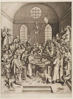 Peter Pauw's Anatomy Theater in Leiden, 1616.  Engraving on ivory laid paper
