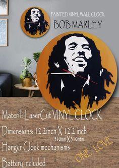 Bob Marley Painted VINYL WallClock #bobmarley #reggae #onelove #positive #gift  #TimeCraft E Craft, Bob Marley, Reggae, Positive Vibes, Clocks, First Love, Positivity, Gifts, Art