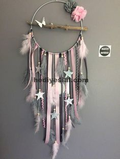 Dream catcher in driftwood and stars in gray and, . - Dream catcher in driftwood and stars in gray and, Gift - Living Room Decor Cozy, Living Room Grey, Diy Room Decor, Cozy Living, Home Crafts, Diy And Crafts, Arts And Crafts, Dream Catcher Craft, Diy Dream Catcher For Kids