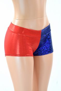 Red & Blue Metallic Harlequin LOW Rise Shorts Harley Cosplay Quinn 151584