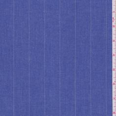 """Vibrant Blue Stripe Shirting   DF#24987   Vibrant Blue Stripe Cotton Shirting This lightweight fabric has vertical metallic silver stripes. Perfect for shirts 100% Cotton 45"""" wide Machine washable Compare to $10.00/yd $4.95 per yard $3.95 per yard On Sale Until 9/2/2013"""