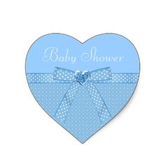 Elegant blue bow and heart jewel boy baby shower stickers / envelope seals. Text is fully customizable. $5.60 for a sheet of 20 stickers.