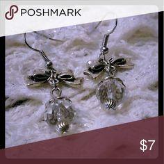 "Silver toned bow earrings with clear bead 1 1/2"" long Jewelry Earrings"