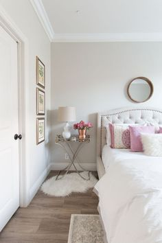 Wall color is Pale Oak Benjamin Moore. Wall color is Pale Oak Benjamin Moore. Bedroom Paint Colors, Light Pink Bedrooms, Interior, Home Bedroom, Home Decor, Bedroom Inspirations, Room Colors, White Wall Bedroom, Bedroom Wall Colors