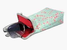 Sunglasses Case  - wide single glasses case - Pastel colors - Aqua with Red and Pink Flowers 100% cotton  - Silver Frame