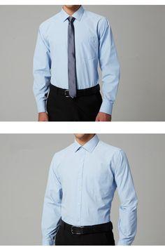 a17c60472a6a 10.93 12% de réduction 2018 Marque Hommes Chemise de Coton Robe Chemises  Hommes Solide Sergé Robe Chemise D été Slim Fit Affaires De Mariage Casual  camisas ...