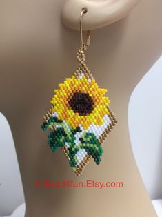 Seed Beaded Earrings Name: Sunflowers Floral Beaded Beaded Earrings Patterns, Seed Bead Patterns, Seed Bead Earrings, Beading Patterns, Ear Earrings, Seed Beads, Glass Earrings, Seed Bead Flowers, Art Patterns