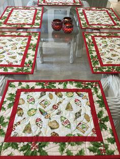 These Placemats remind me of the hand blown glass tree ornaments as a child we had many years ago, The background is a pale shade of green with red sashing all Elegant Christmas Trees, Christmas Tree Decorations, Christmas Tree Ornaments, Diy Ornaments, Christmas Placemats, Christmas Sewing, Christmas Quilting, Christmas Runner, Table Runner And Placemats