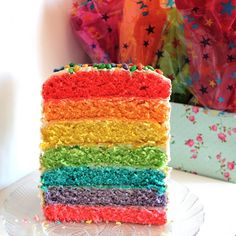 You can look forward to six hours of work to make this gorgeous rainbow layer cake, but for something special like a birthday? Can't be beat.