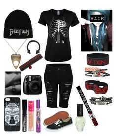 """""""I was tagged"""" by katlanacross ❤ liked on Polyvore featuring LE3NO, Vans, Manic Panic NYC, Jeffree Star and Fujifilm"""
